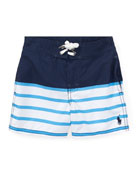 Sanibel Striped Swim Trunks, Blue, Size 9-24 Months