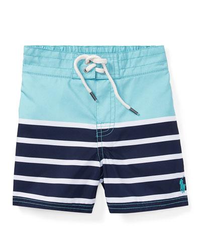 Sanibel Striped Swim Trunks, Green, Size 9-24 Months