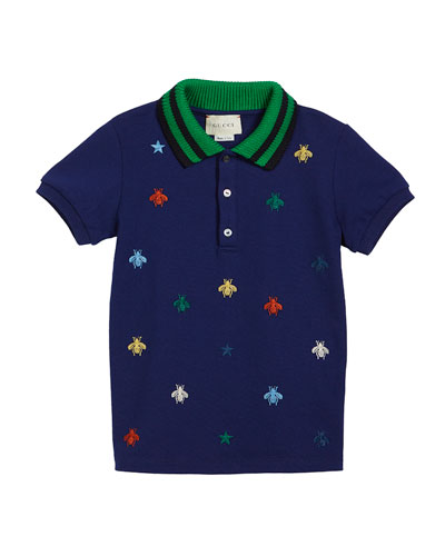 Bee-Embroidery Polo w/ Knit Collar, Size 12-36 Months