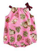 Butterfly & Floral Printed Romper, Size 3-24 Months