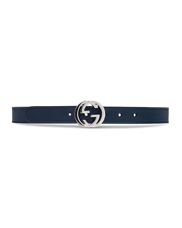 Kids Leather Belt w Interlocking G Buckle