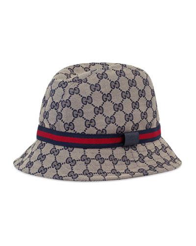 Kids' GG Supreme Canvas Bucket Hat w/ Web Hat Band