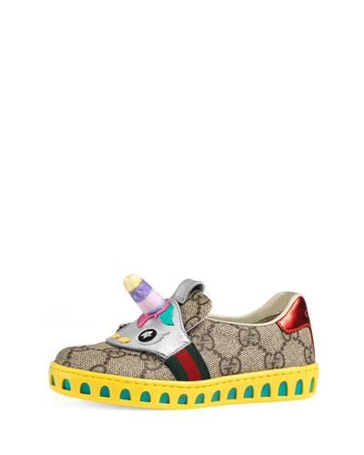 GG Supreme Canvas Sneaker w/ Unicorn, Toddler Sizes 8-10