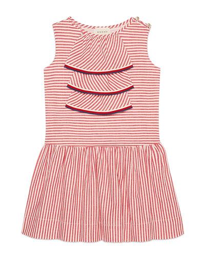 Sleeveless Striped Dress w/ Web Trim, Size 4-12