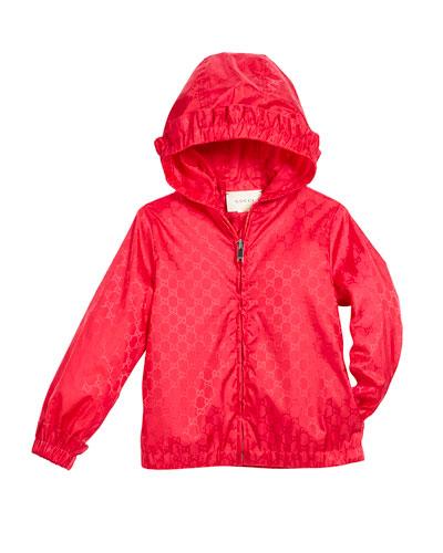 GG Jacquard Nylon Zip-Front Jacket w/ Hood, Size 4-12