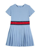 Accordion-Pleated Web-Trim Dress, Size 4-12