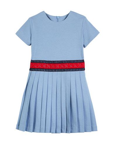 Accordion-Pleated Web-Trim Dress, Size 4-12