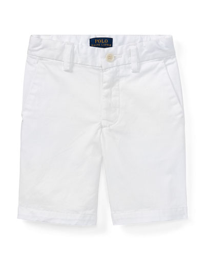 Stretch Chino Preppy Shorts, White, Size 2-4