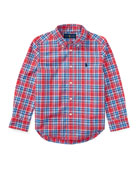Poplin Plaid Button-Down Shirt, Red, Size 2-4