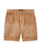 Montauk Chino Carpenter Paint-Splatter Shorts, Beige, Size 2-4