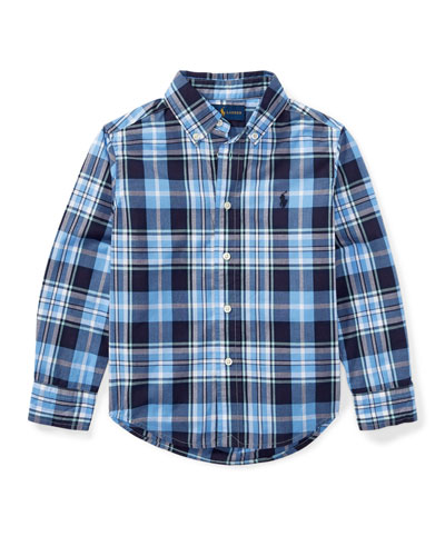 Poplin Plaid Button-Down Shirt, Blue, Size 2-4