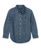 Chambray Long-Sleeve Button-Down Shirt, Blue, Size 2-4