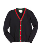 V-Neck Button-Front Cardigan w/ Web Trim, Navy, Size 4-12