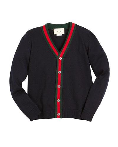 V-Neck Button-Front Cardigan w/ Web Trim, Navy, Size 4-12