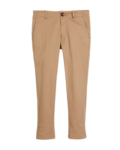 Cotton-Stretch Gabardine Pants w/ Rolled Web Hem, Size 4-12