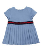 Accordion-Pleated Web-Trim Dress, Size 3-36 Months