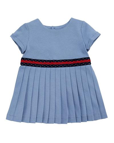 Accordion-Pleated Web-Trim Dress, Size 3-36 Months
