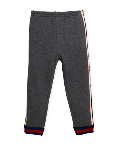 Logo Jacquard Side Jogger Pants w/ Web Knit Cuffs, Size 4-12