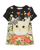 Short-Sleeve Cat in Garden T-Shirt, Size 4-12