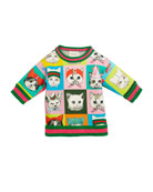 Pets-Print Sweatshirt w/ Knit Web Trim, Size 4-12