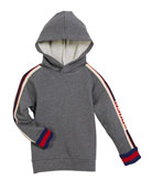 Cotton Felted Jersey Hoodie w/ Logo Jacquard Trim, Size 4-12