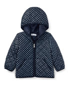 Matte Polka-Dot Zip-Up Hooded Jacket, Blue, Size 9-24 Months