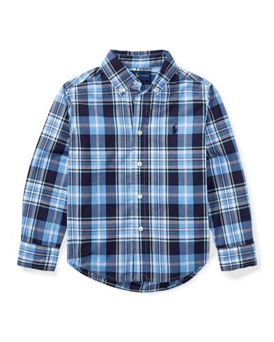 Poplin Long-Sleeve Button-Down Check Shirt, Blue, Size 5-7