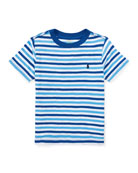 Slub Jersey Stripe T-Shirt, White/Blue, Size 5-7