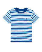 Slub Jersey Stripe T-Shirt, White/Blue, Size 2-4