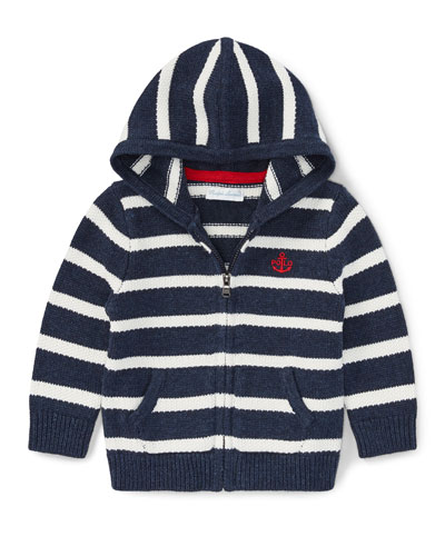 Striped Cotton Zip-Up Hoodie, Size 9-24 Months