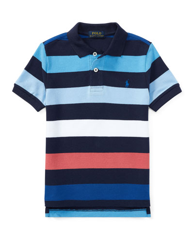 Mesh Striped Polo Shirt, Blue, Size 5-7