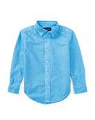 Garment Dye Oxford Shirt, Blue, Size 5-7