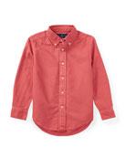 Garment-Dye Oxford Button-Down Shirt, Red, Size 5-7