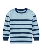 Slub Jersey Long-Sleeve Striped Shirt, Blue, Size 2-4