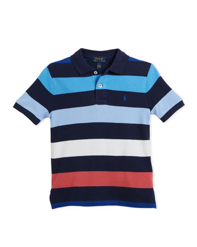 Mesh Striped Polo Shirt, Blue, Size 2-4