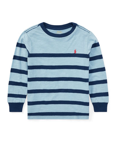 Slub Jersey Long-Sleeve Striped Shirt, Blue, Size 5-7