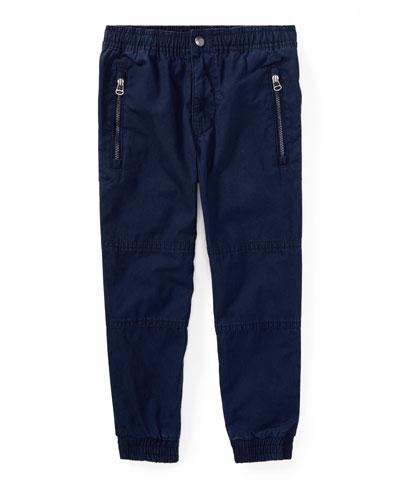 Cotton Poplin Jogger Pants, Blue, Size 5-7