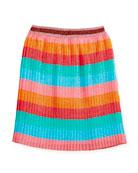 Multi-Stripe Metallic Pleated Skirt, Size 4-12