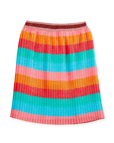 Multi-Stripe Iridescent Pleated Skirt, Size 4-12