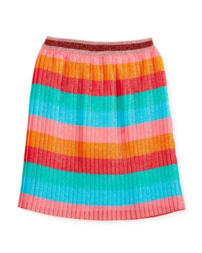 Multi-Stripe Iridescent Pleated Skirt, Size 4-12