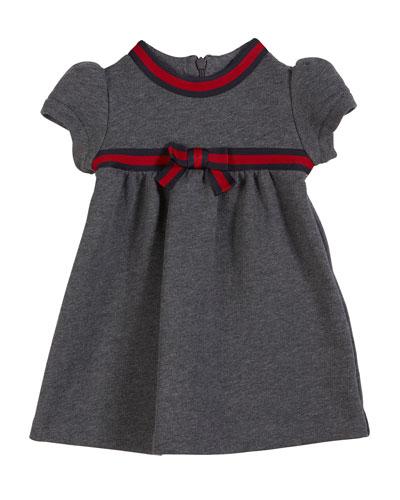 Short-Sleeve Web-Trim Dress, Size 6-36 Months