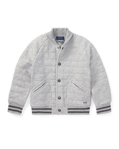Double Knit Tech Baseball Jacket, Gray, Size 2-4