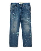 Denim Hampton Fit Jeans w/ Paint Splatter, Size 2-4