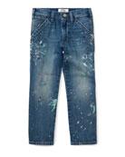 Hampton-Fit Paint-Splatter Denim Jeans, Size 5-7