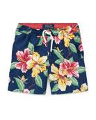 Captiva Floral-Print Swim Trunks, Size 5-7