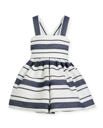 Sophisticated Stripe Cross-Back Dress, Size 12-18 Months