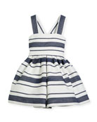 Sophisticated Stripe Cross-Back Dress, Size 7-14