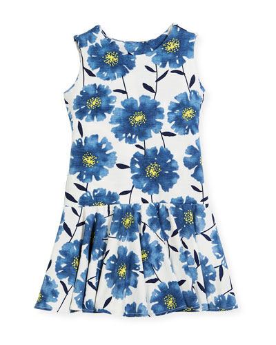 Knit Daisies Drop-Waist Dress, Size 7-14