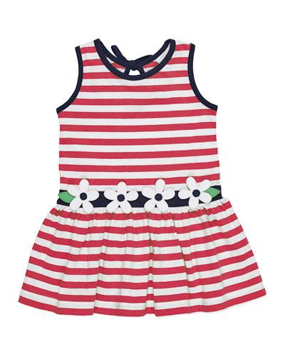 Stripe Knit Sleeveless Dress w/ Flower Detail, Size 2-6X