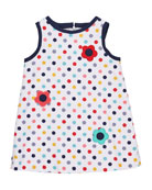 Polka-Dot Pique Dress w/ Flowers, Size 2-6X